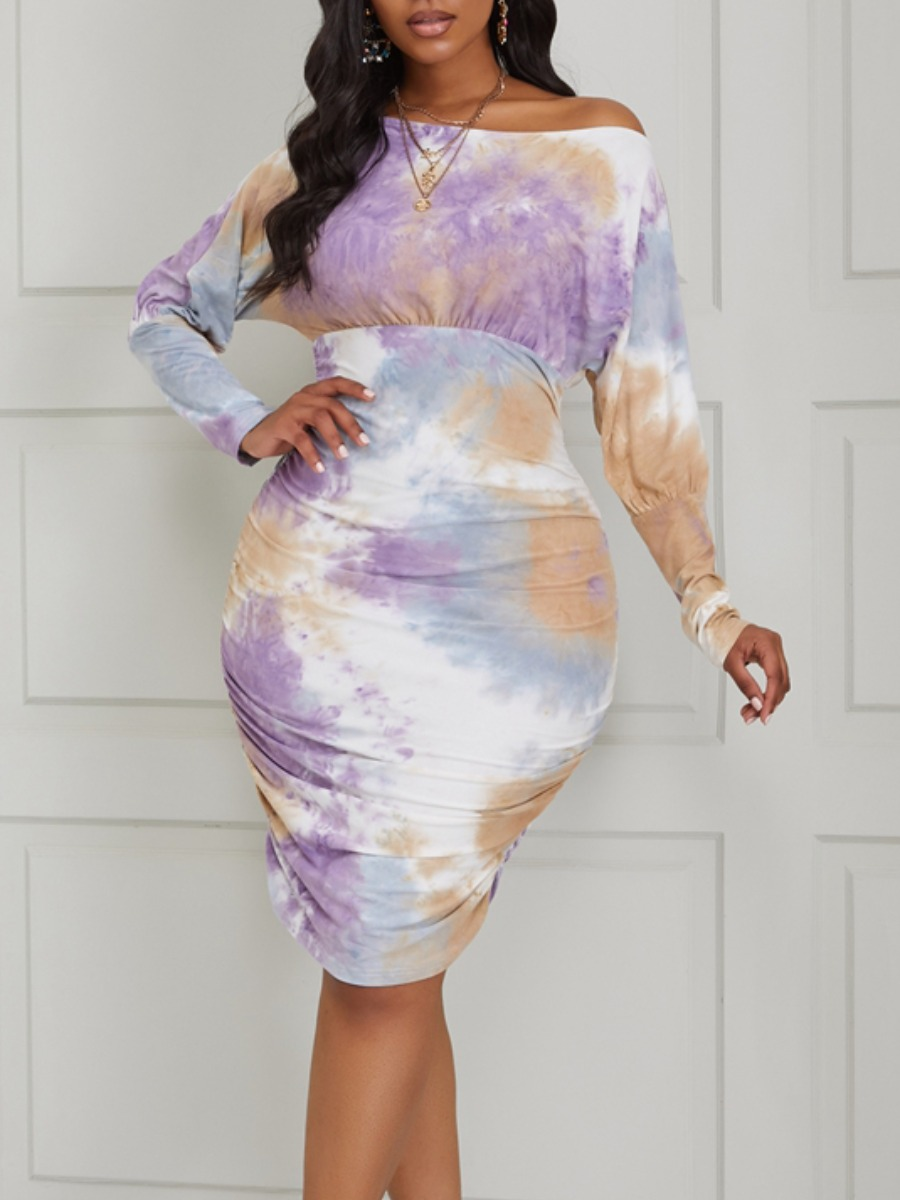Lovely Stylish Tie-dye Purple Knee Length Dress фото