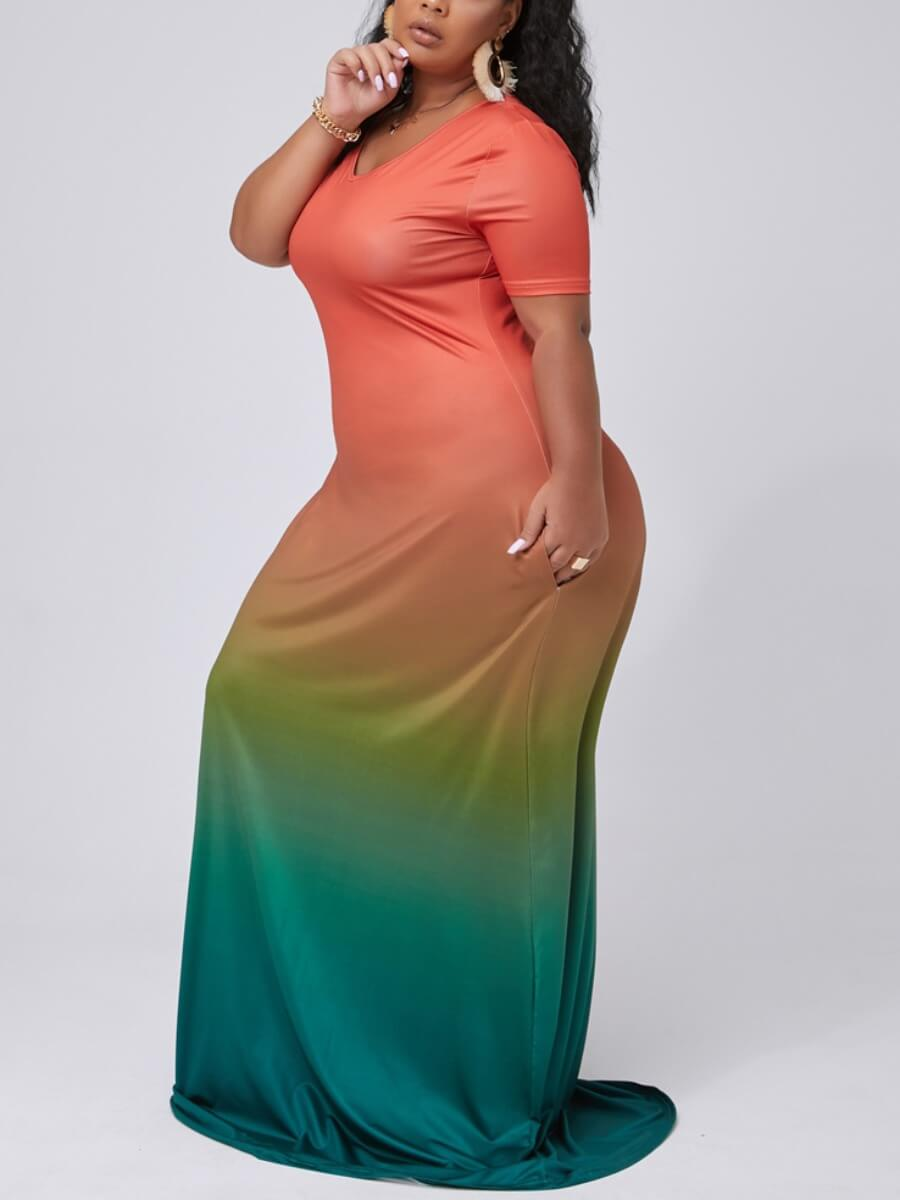 Lovely Casual V Neck Gradient Wine Red Maxi Plus Size Dress фото