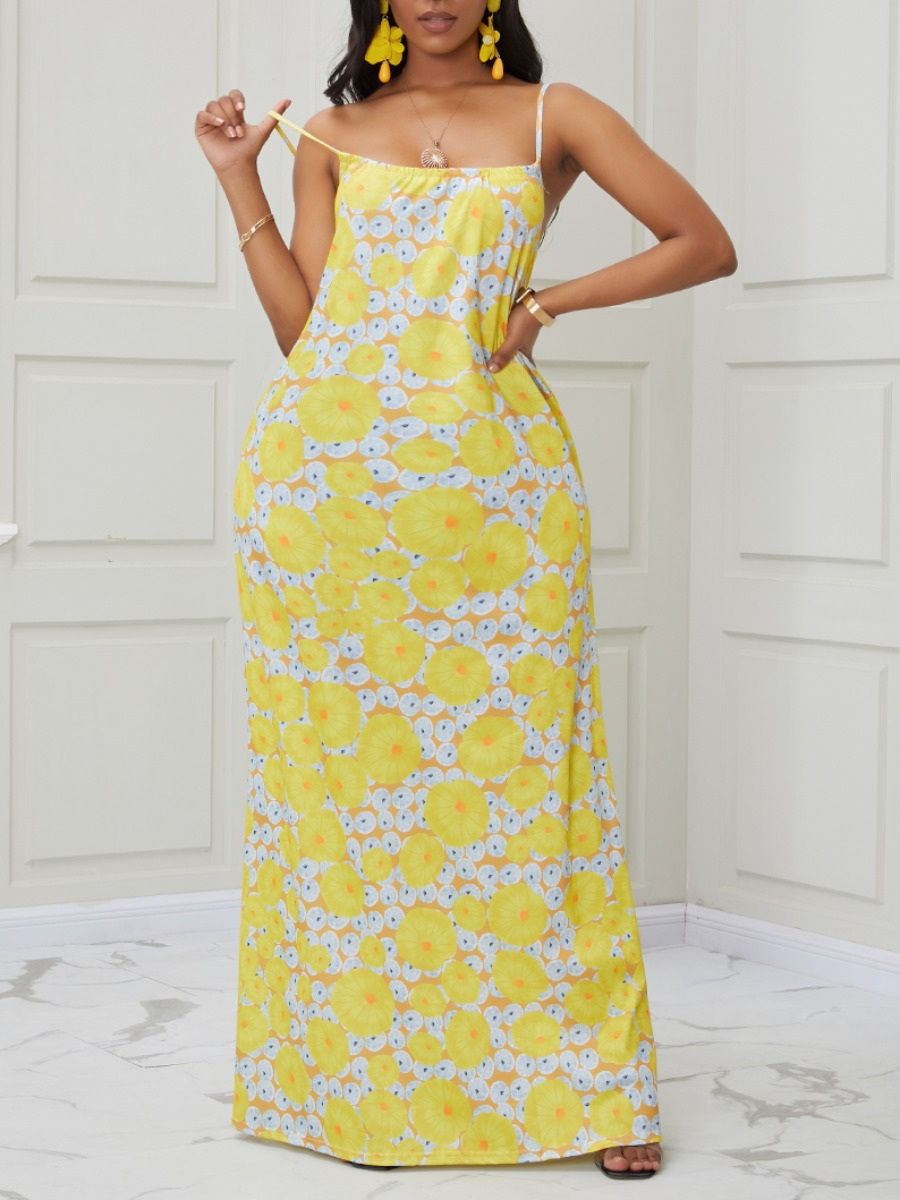 Lovely Trendy Spaghetti Strap Print Lemon Yellow Maxi Dress фото
