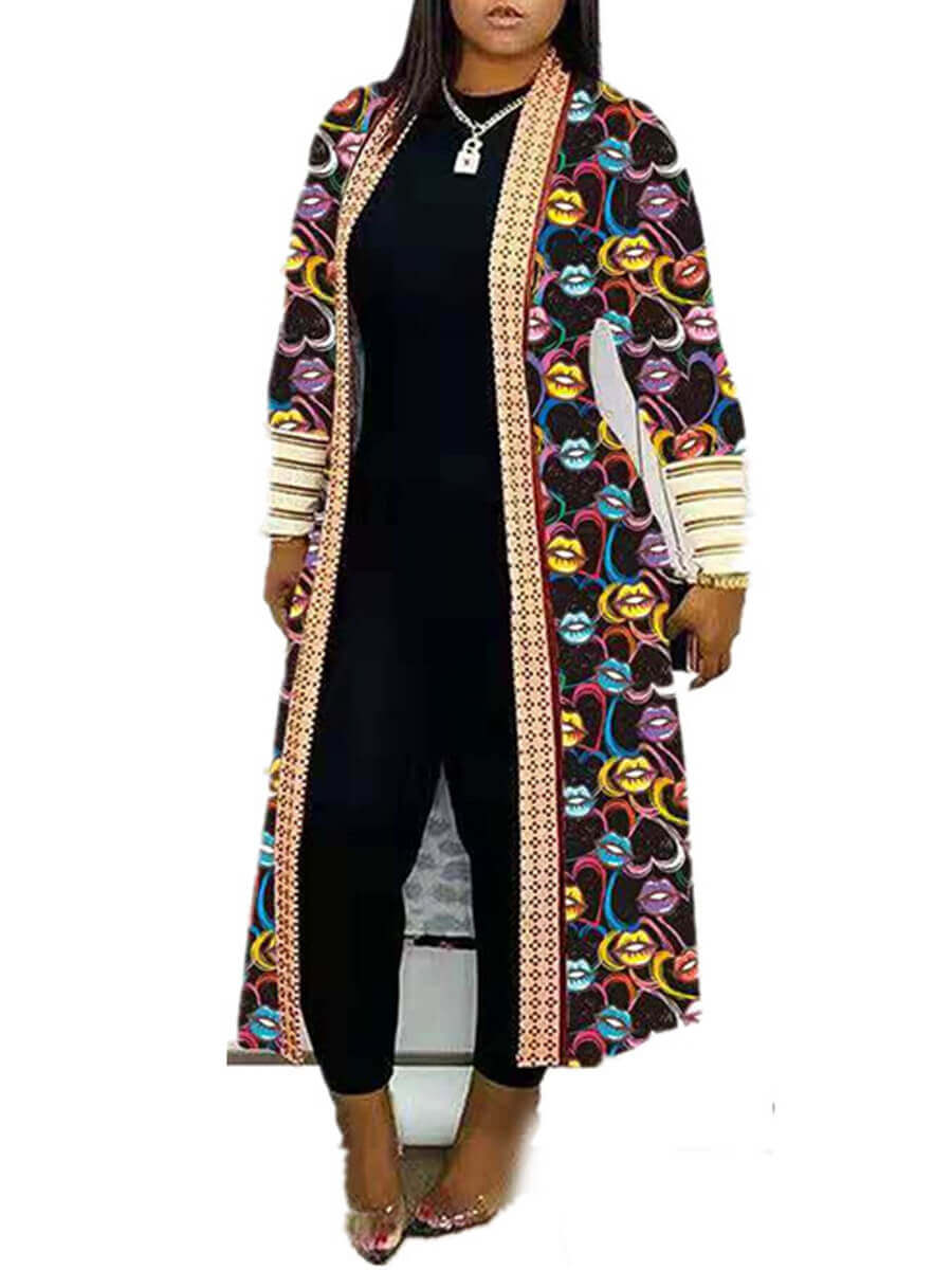 Coat&Jacket Lovely Casual Print Multicolor Long Coat фото
