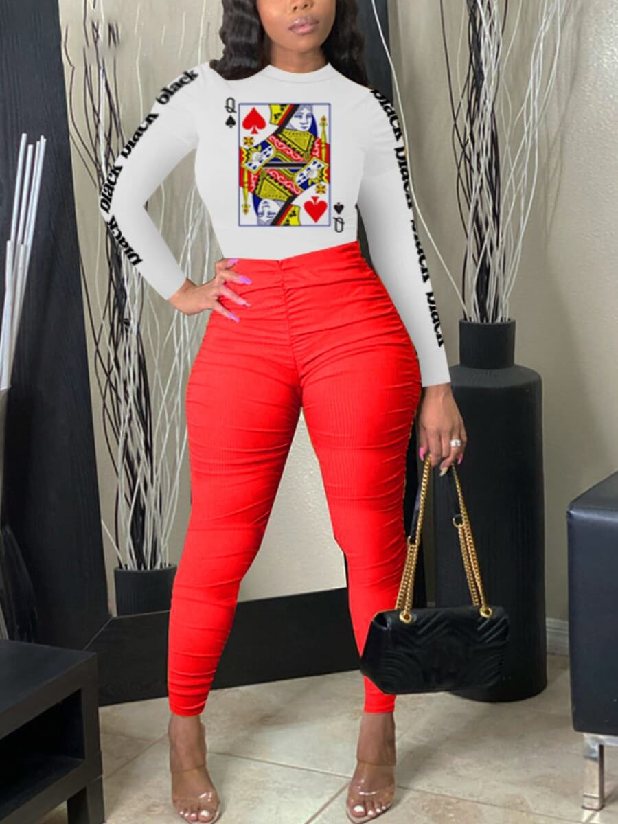 Two-piece Pants Set lovely Leisure O Neck Print Fold Design Red Two Piece Pants Set фото