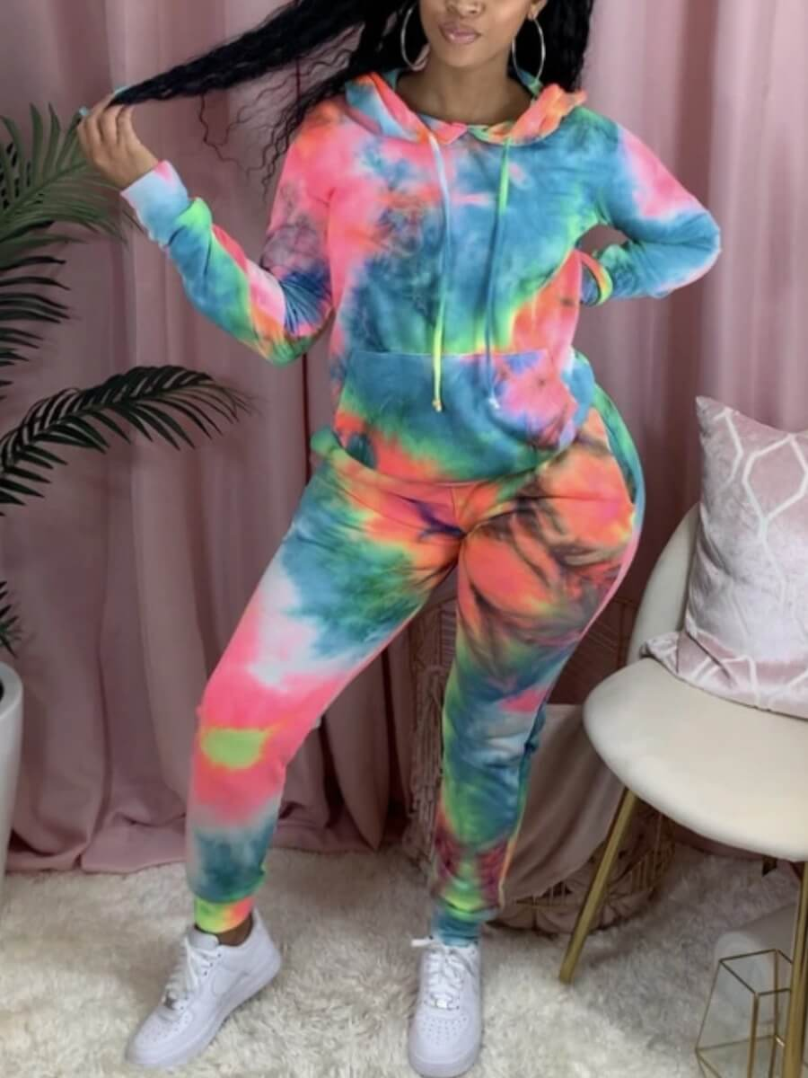 Two-piece Pants Set lovely Casual Hooded Collar Tie Dye Skyblue Two Piece Pants Set фото