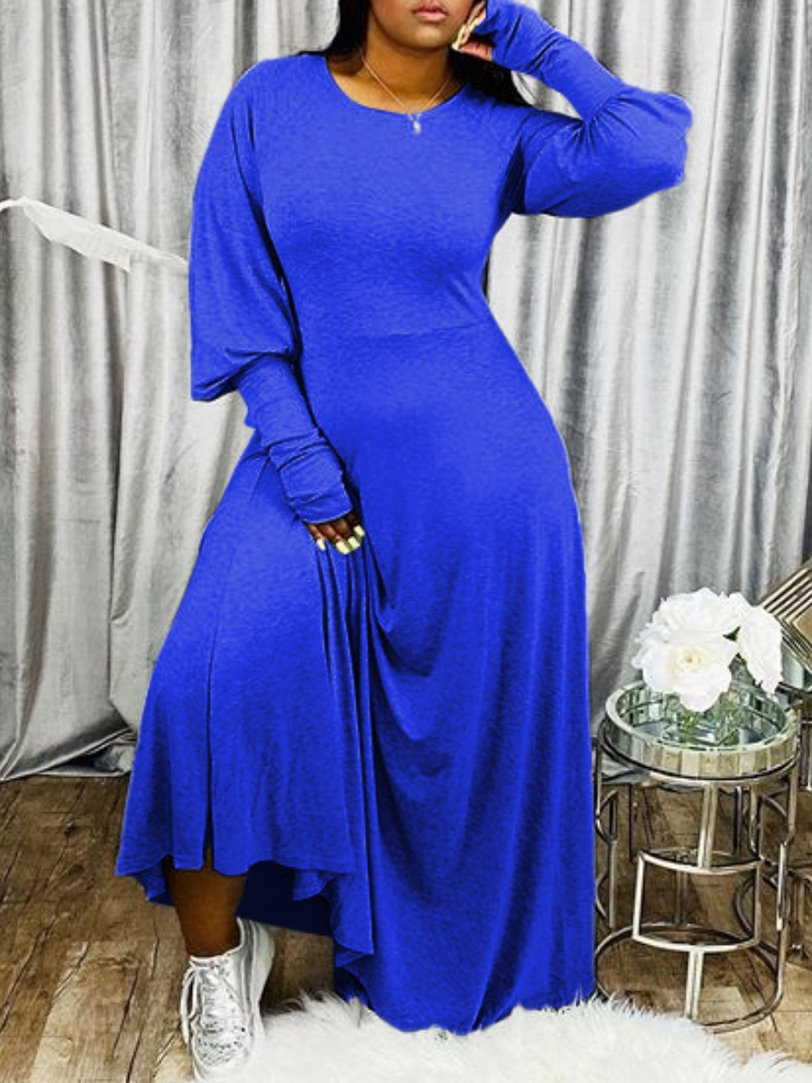 Lovely Casual Puffed Sleeves Loose Blue Maxi Dress фото