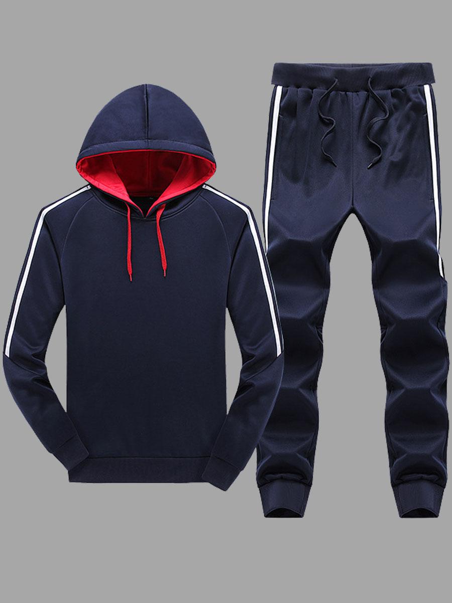 Lovely Sportswear Hooded Collar Patchwork Dark Blue Men Two-piece Pants Set фото