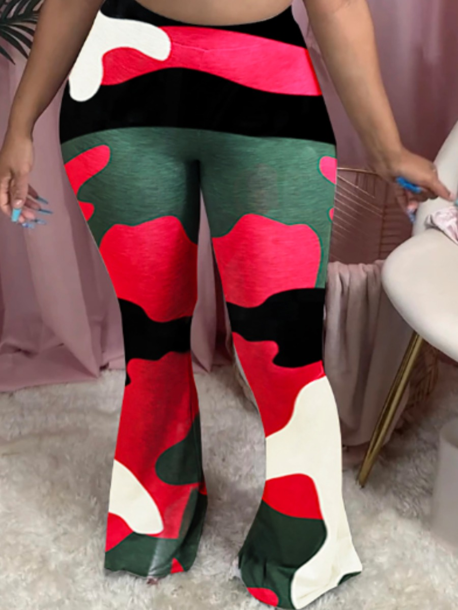 Lovely Street Camo Print Rose Red Pants фото