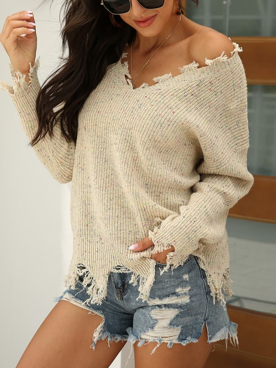 Sweaters & Cardigans lovely Street V Neck Asymmetrical Apricot Sweater фото