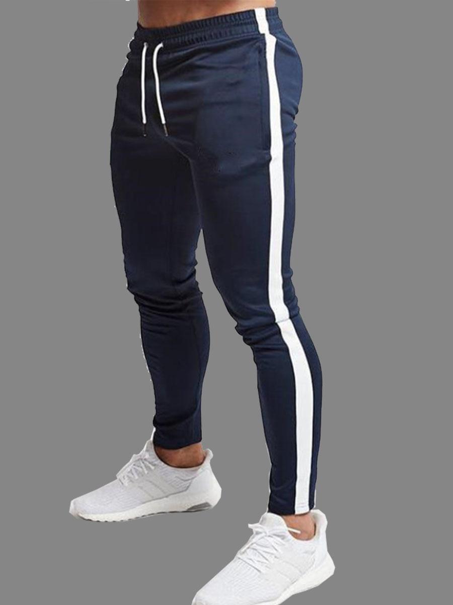 Pants/Capris Lovely Men Casual Striped Drawstring Blue Men Pants фото