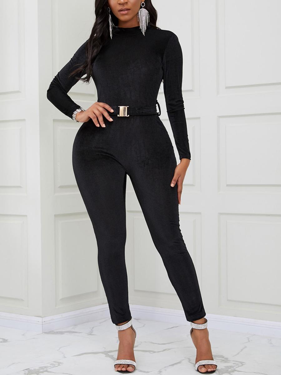 Lovely Trendy Basic Skinny Black One-piece Jumpsuit фото