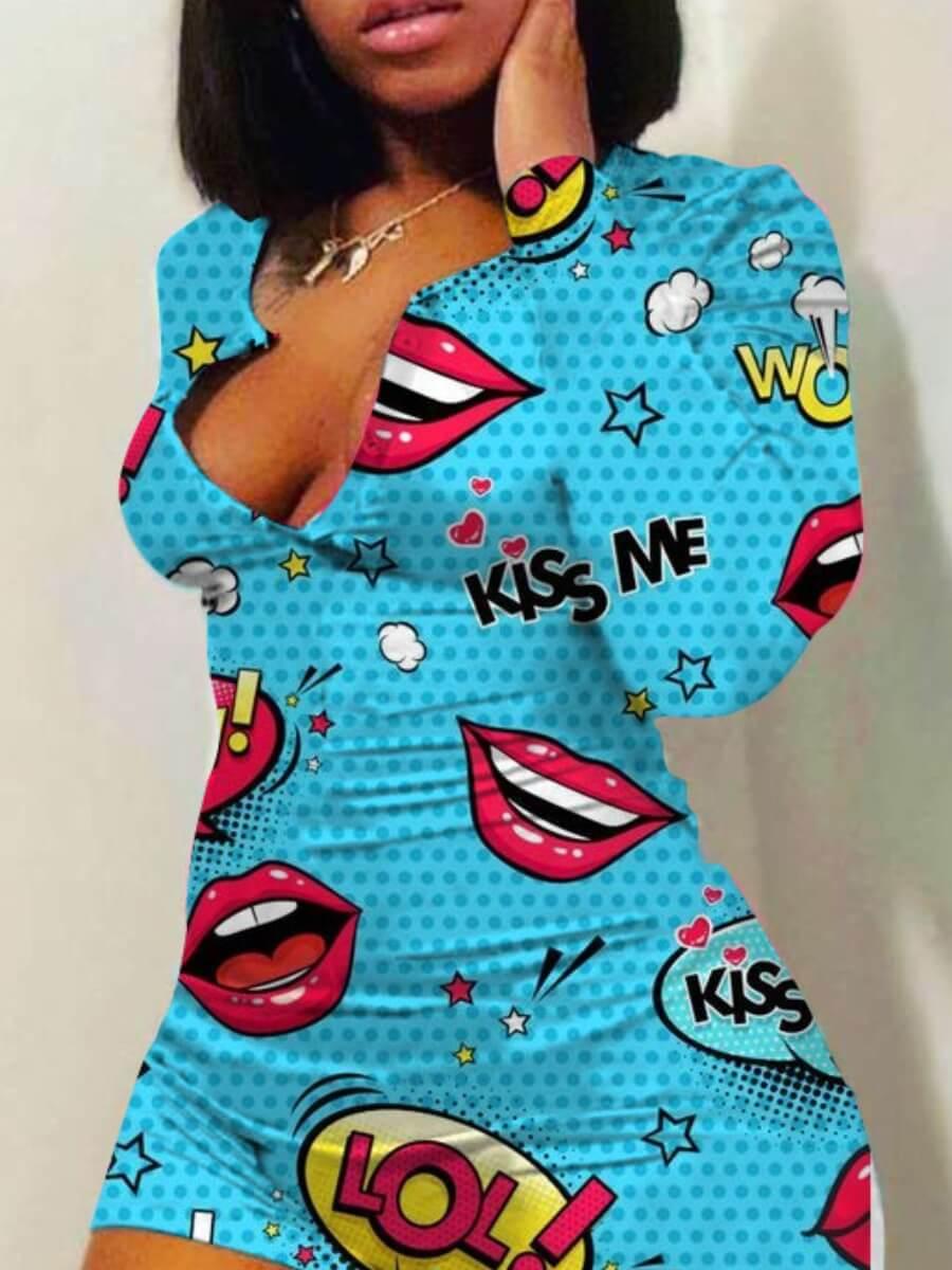 Lovely Leisure Lip Print Skyblue Loungewear фото