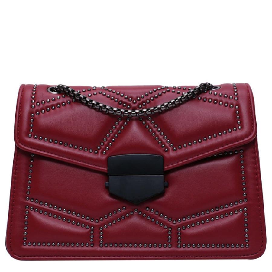 Messenger Bag&Crossbody Bag lovely Retro Chain Strap Wine Red Crossbody Bag фото