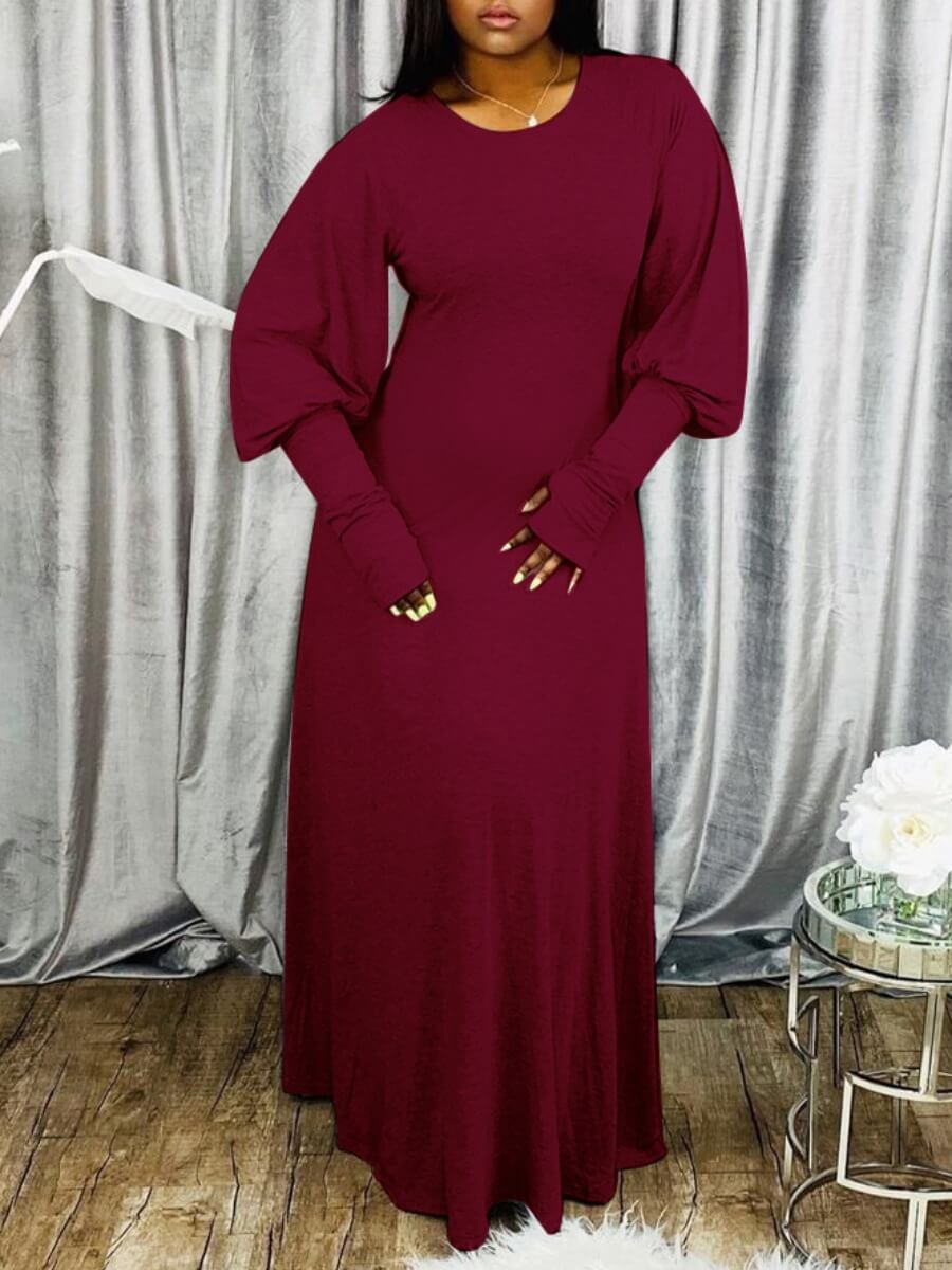 Lovely Casual Puffed Sleeves Loose Wine Red Maxi Dress