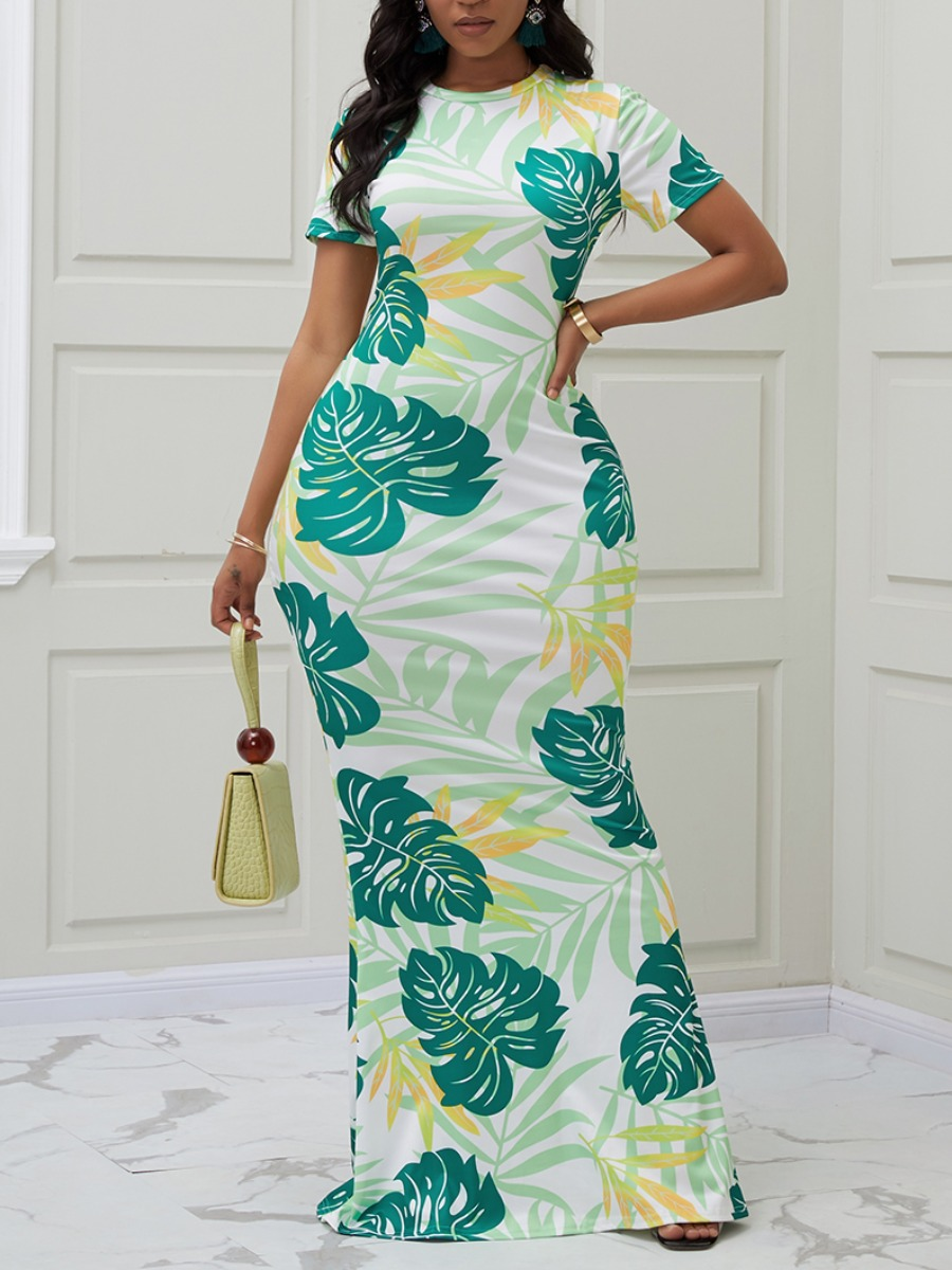 Lovely Casual O Neck Plants Print Green Maxi Dress фото