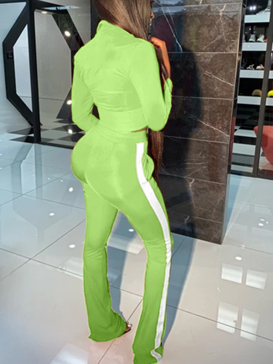 Lovely Sportswear Zipper Design Patchwork Light Green Two Piece Pants Set