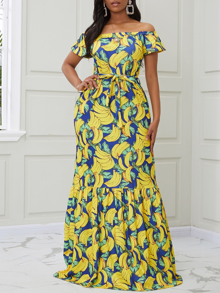 lovely Casual Banana Print Multicolor Maxi Dress