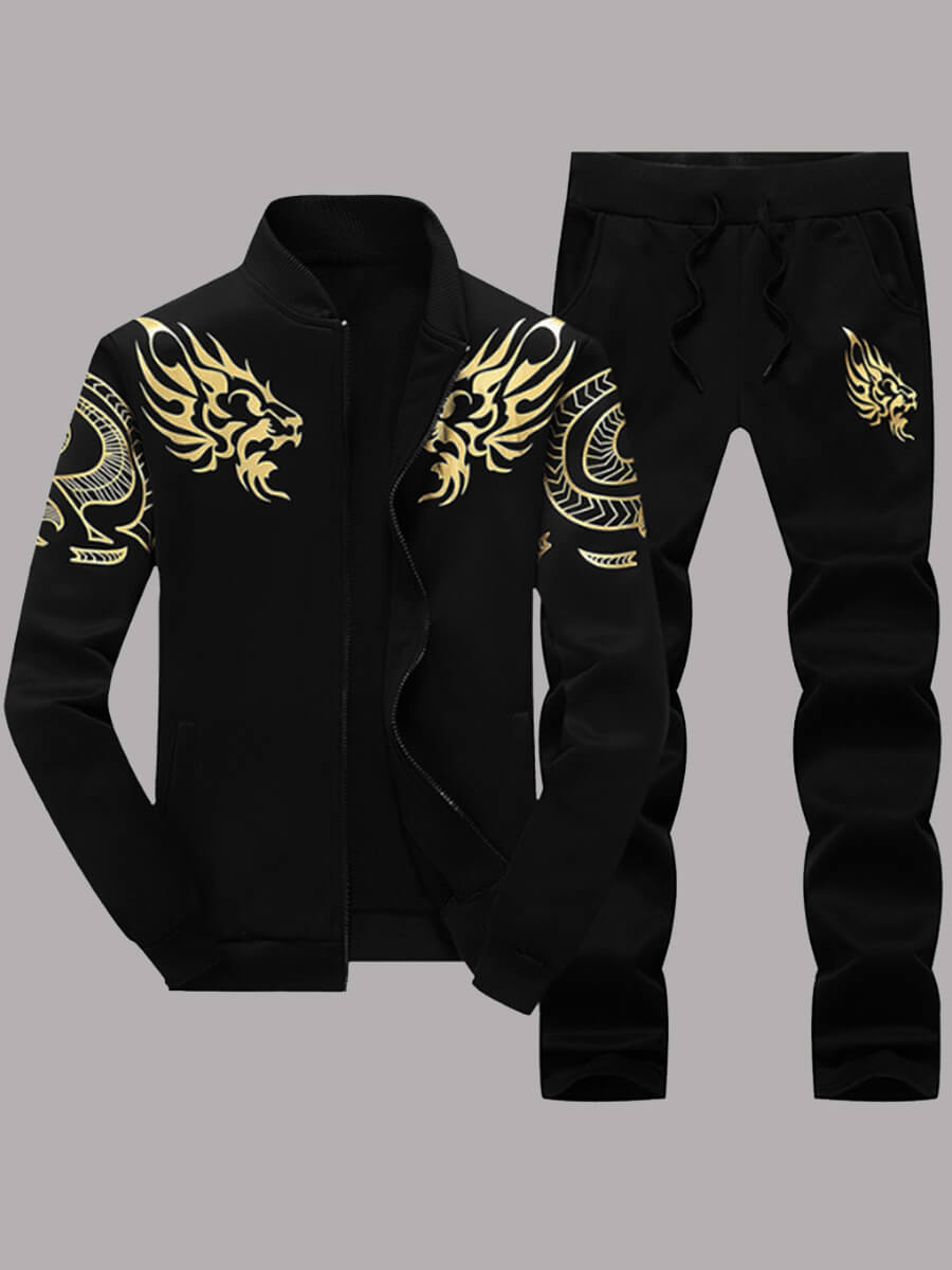 Lovely Casual Zipper Design Print Black Men Two-piece Pants Set фото
