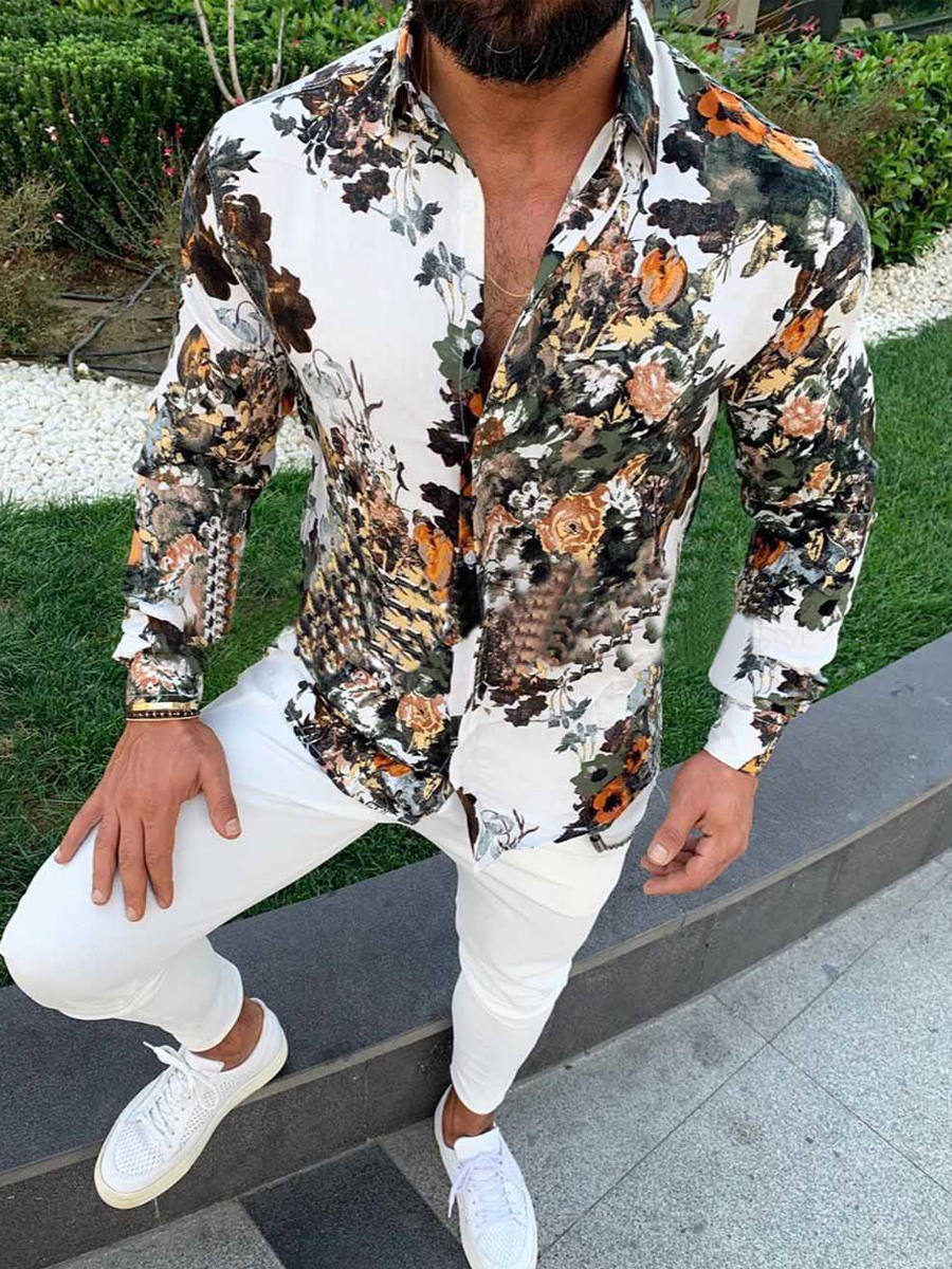 Lovely Street Turndown Collar Print White Men Shirt фото