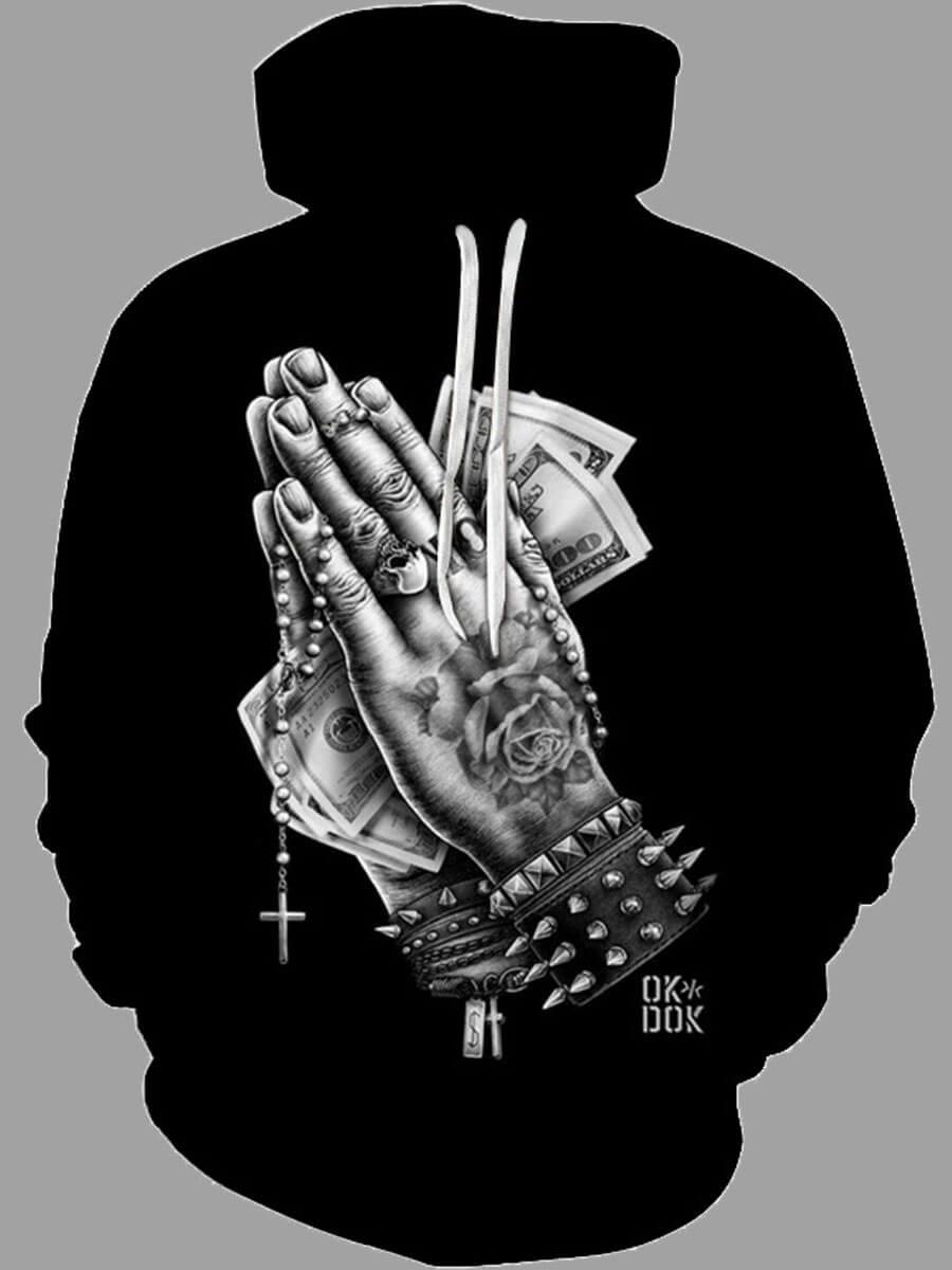 Lovely Trendy Hooded Collar Print Black Men Hoodie