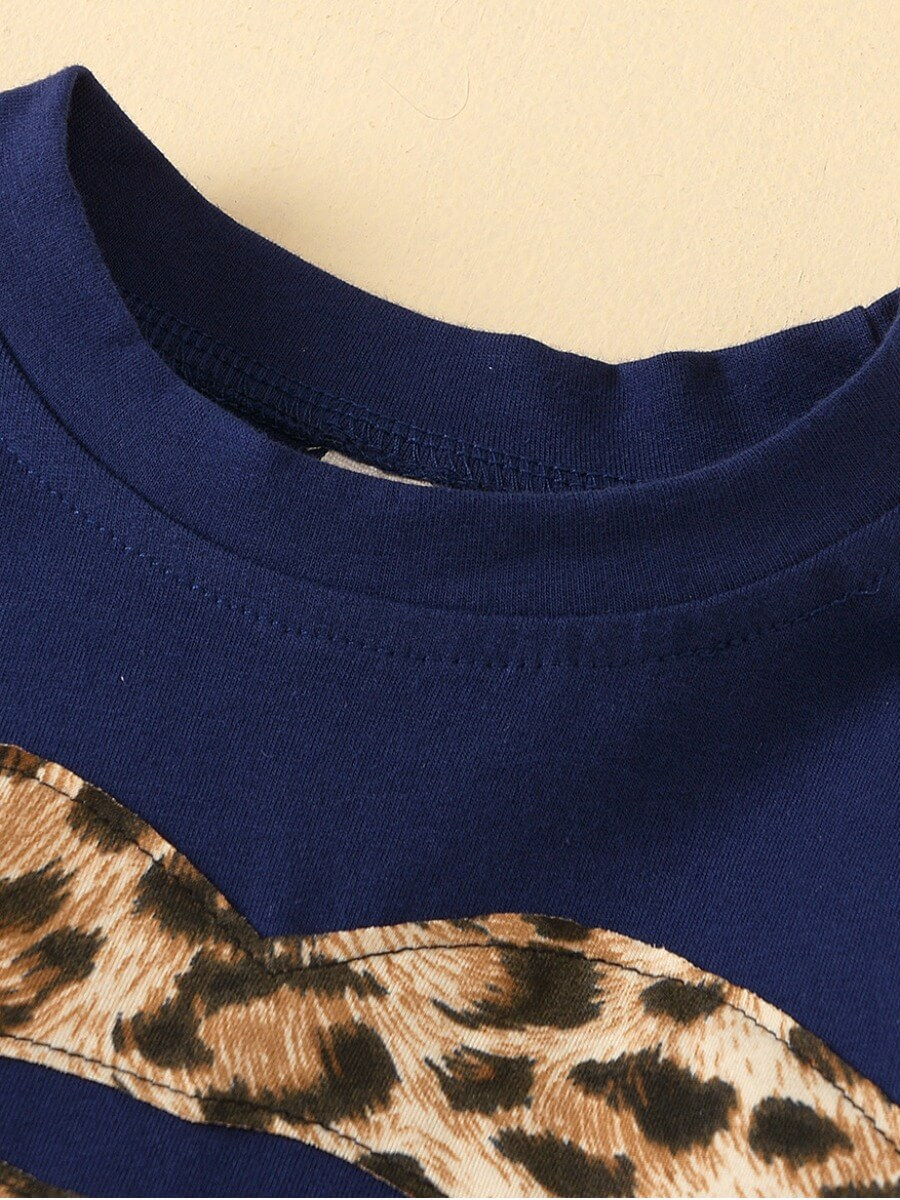 Lovely Casual O Neck Leopard Print Patchwork Girl