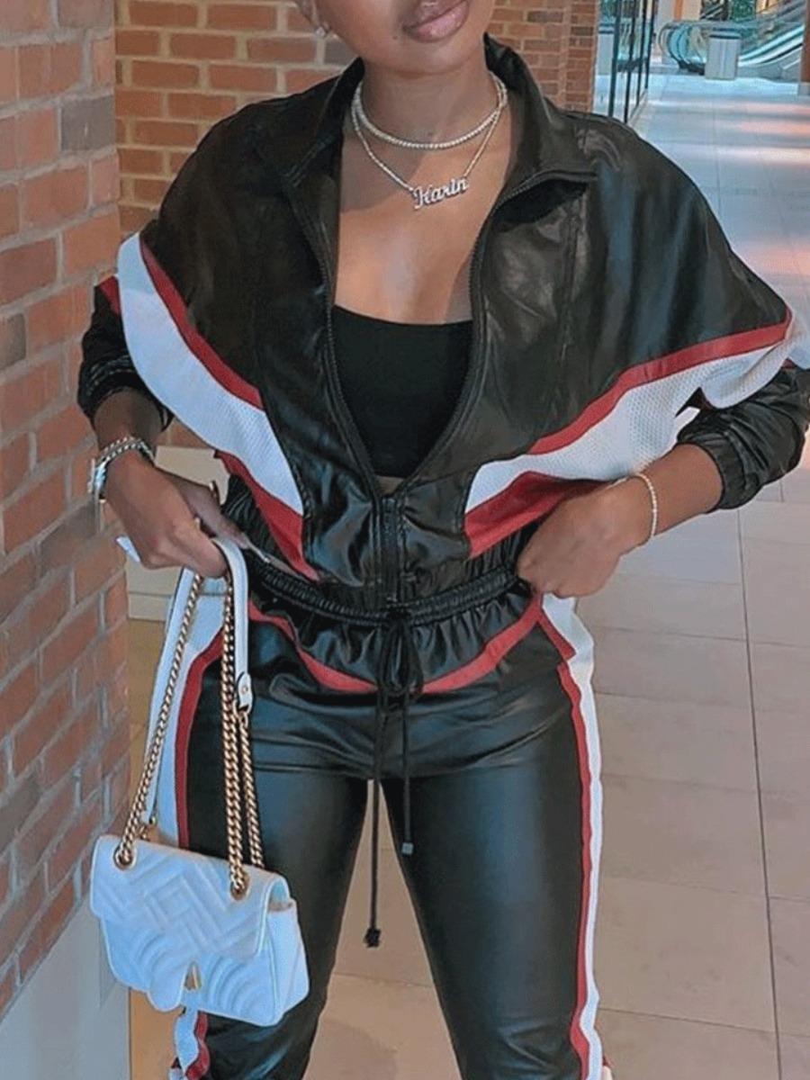 Coat&Jacket lovely Casual Zipper Design Patchwork Black Coat фото