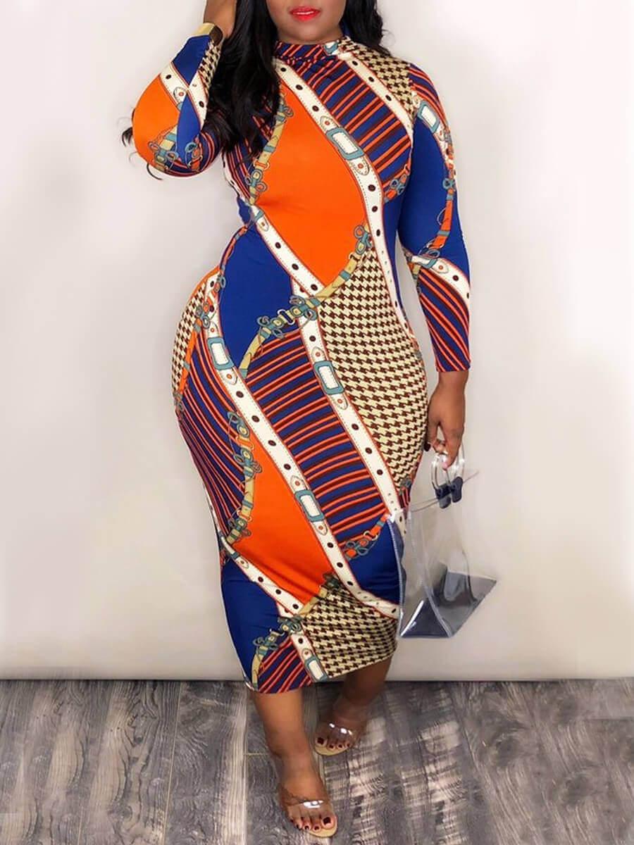 LW Casual O Neck Print Color-lump Patchwork Multicolor Mid Calf Dress