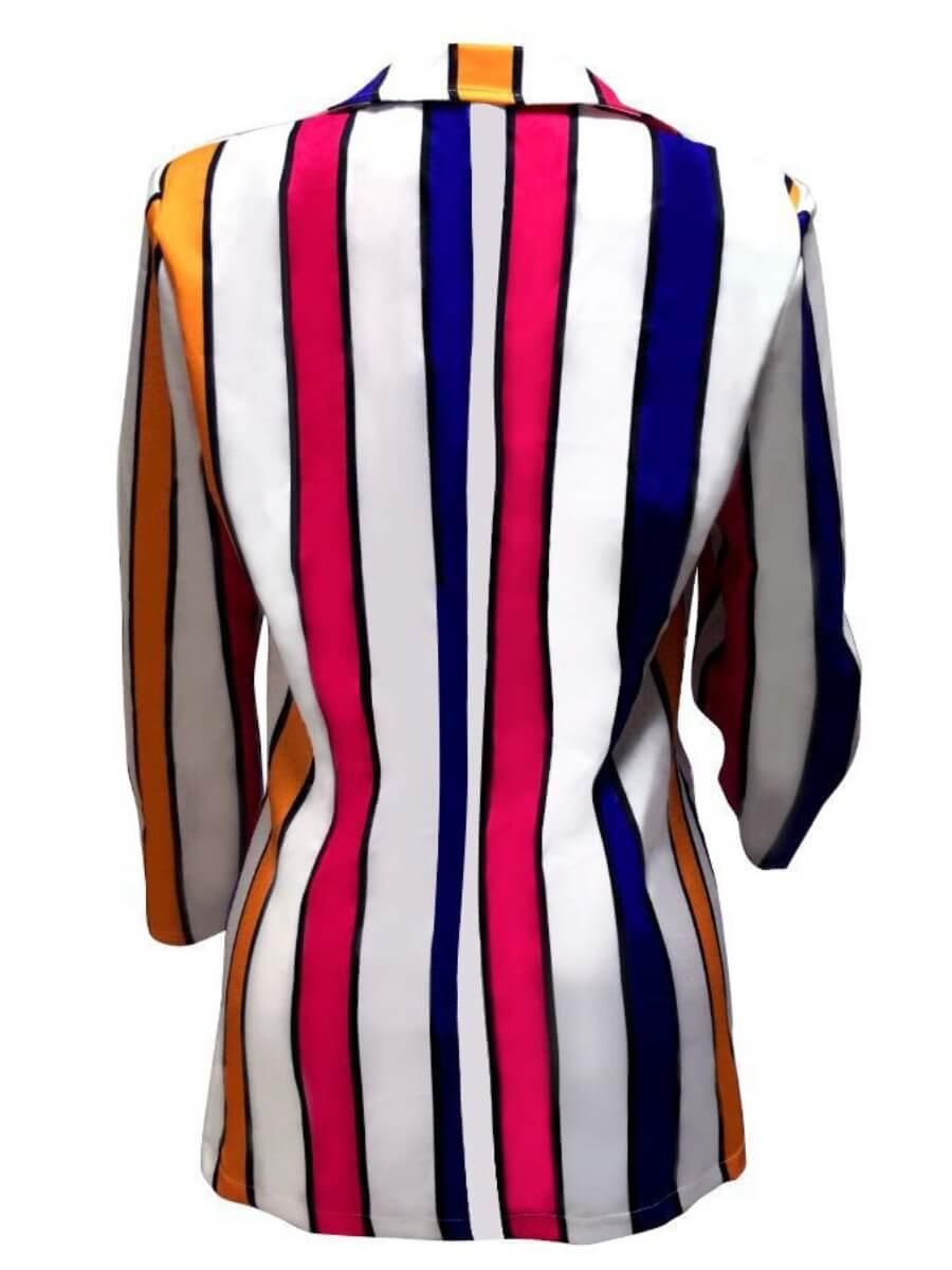 Lovely Trendy Turndown Collar Striped Multicolor B