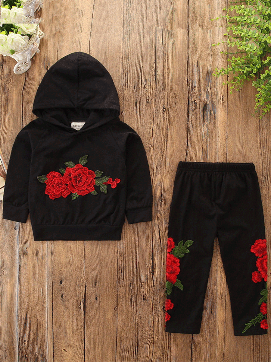 Girls Two-piece Pants Set lovely Sportswear Hooded Collar Rose Print Black Girl Two-piece Pants Set фото