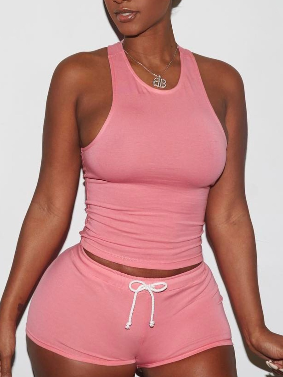 Lovely Casual Sleeveless Patchwork Pink Loungewear фото