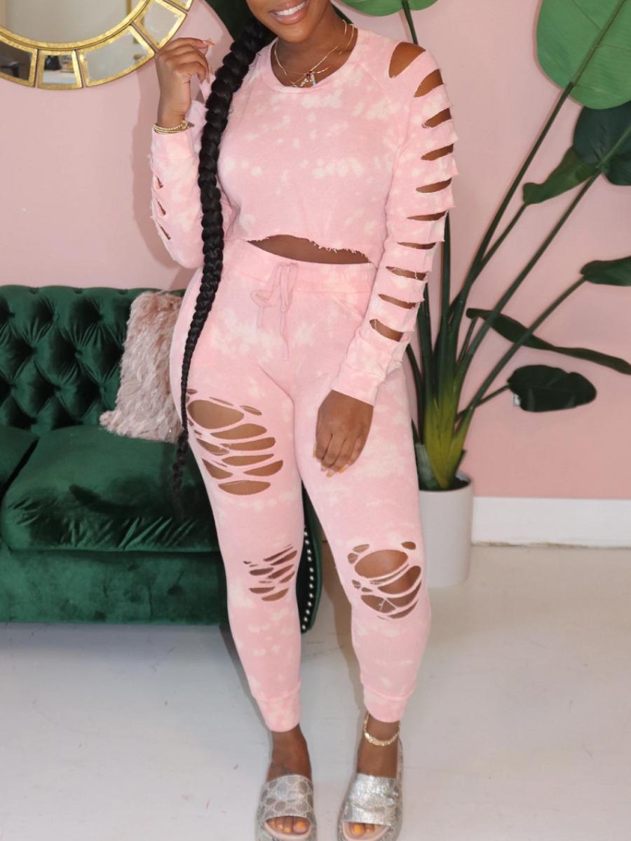 Two-piece Pants Set lovely Trendy O Neck Tie Dye Tear Pink Two Piece Pants Set фото