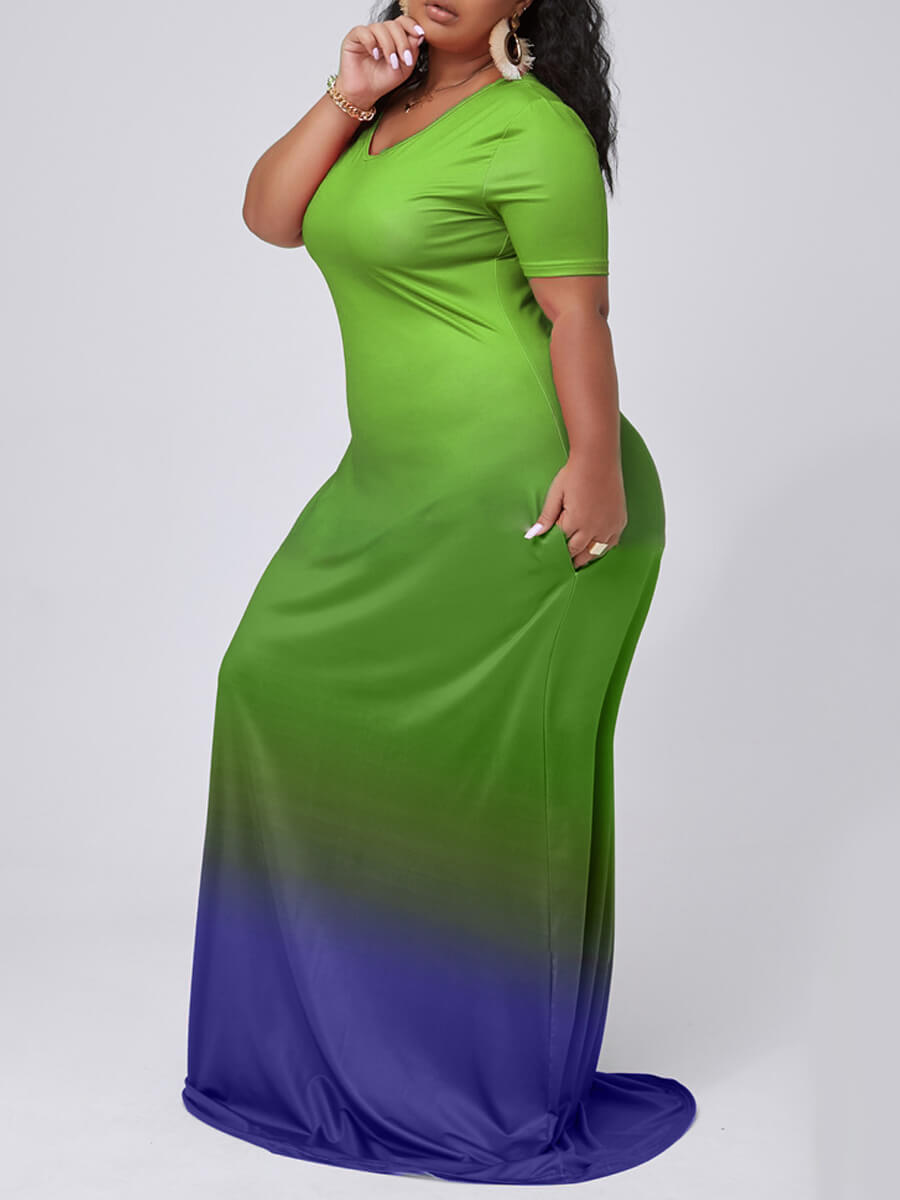 Lovely Casual V Neck Gradient Green Maxi Plus Size Dress фото