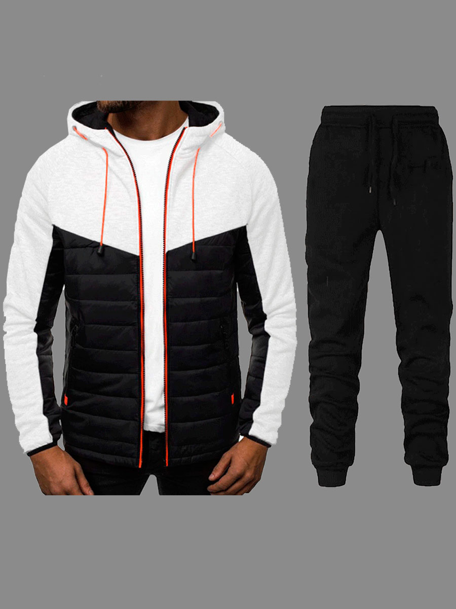 Lovely Sportswear Hooded Collar Zipper Design Patchwork White Men Two-piece Pants Set фото