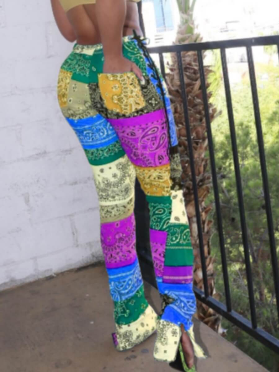 Lovely Bohemian Print Color-lump Patchwork Yellow Pants фото