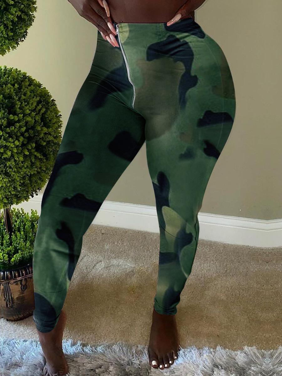 Lovely Casual Camo Print Green Pants фото
