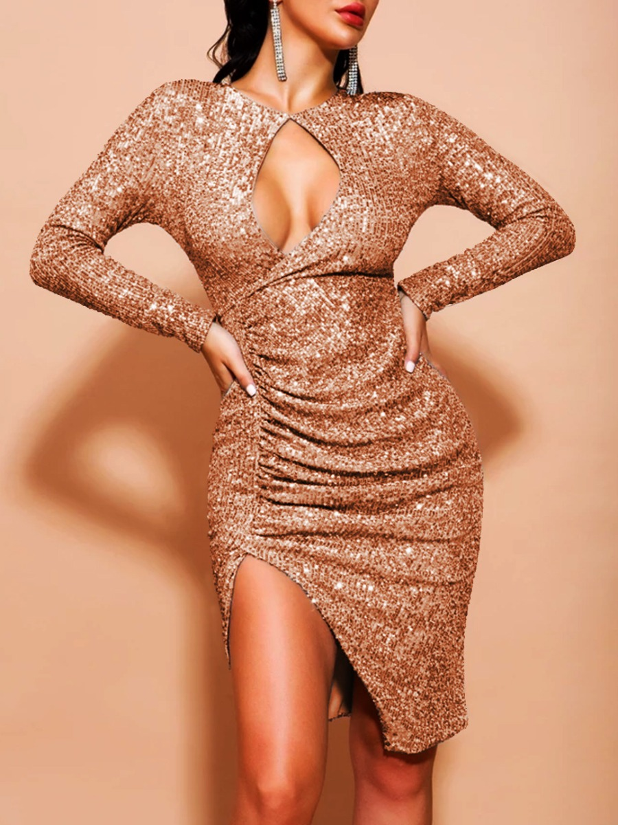 Prom Dress lovely Sexy Hollow-out Fold Design Rose Gold Knee Length Dress фото
