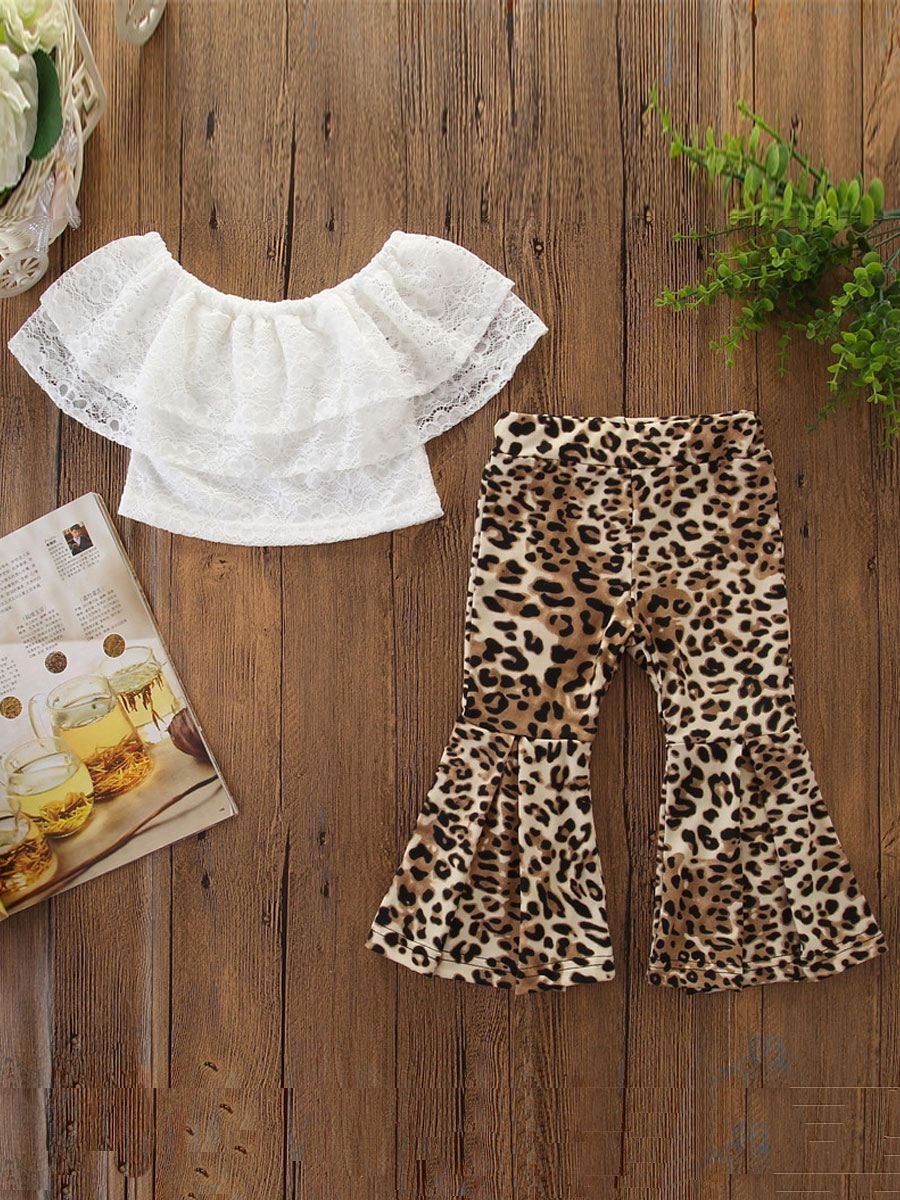 Girls Two-piece Pants Set lovely Casual O Neck Leopard Print White Girl Two-piece Pants Set фото