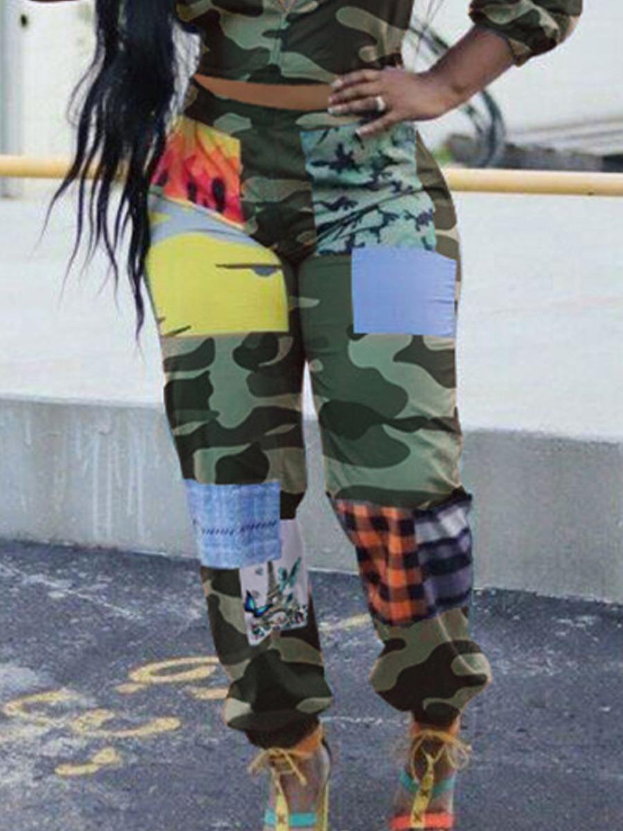 Lovely Street Camo Print Patchwork Pants фото