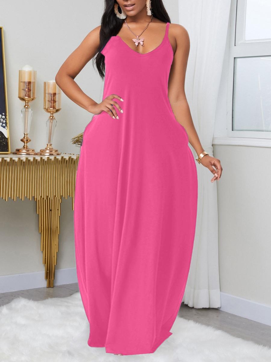 LW BASIC Plus Size Leisure Pocket Patched PinkMaxi Dress