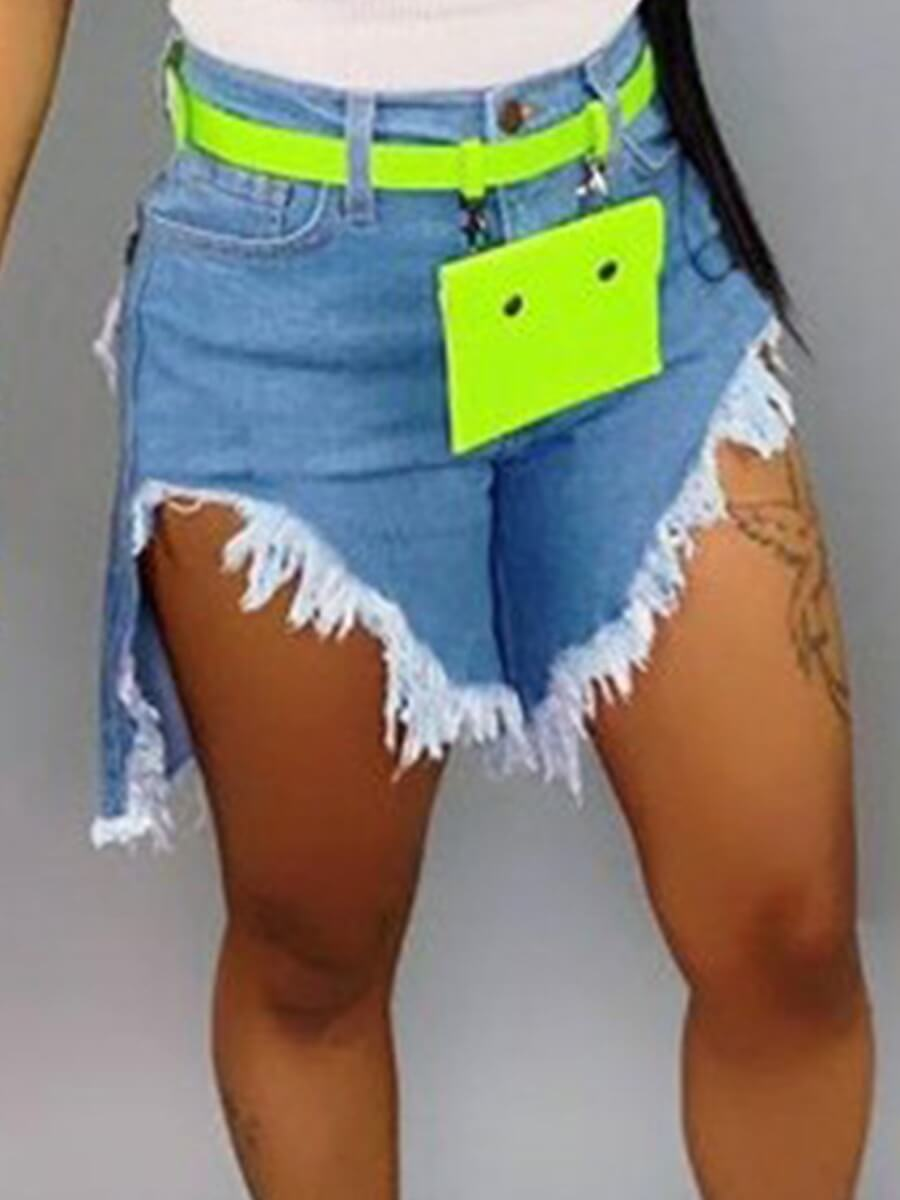 Lovely Casual Asymmetrical Baby Blue Shorts