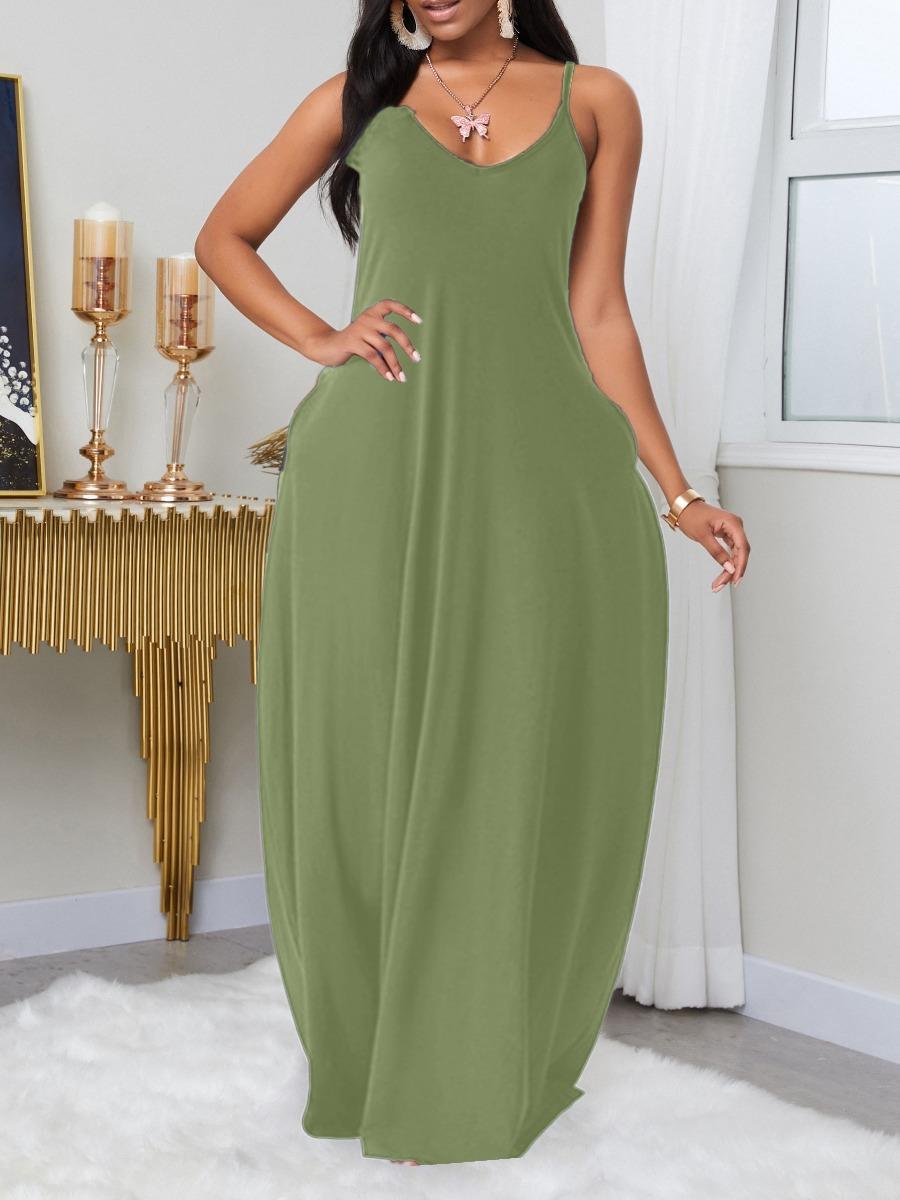 LW BASICS Plus Size Leisure Pocket Patched Light GreenMaxi Dress