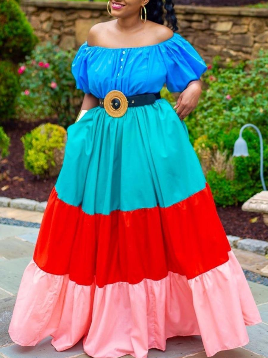 lovely Sweet Dew Shoulder Color-lump Patchwork Multicolor Maxi Dress(Without Belt)