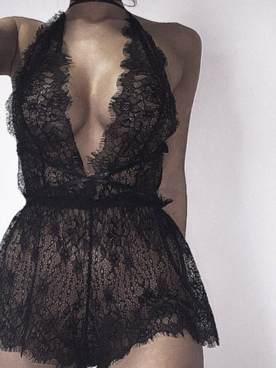 Lovely Sexy Lace See-through Black Sleepwear фото