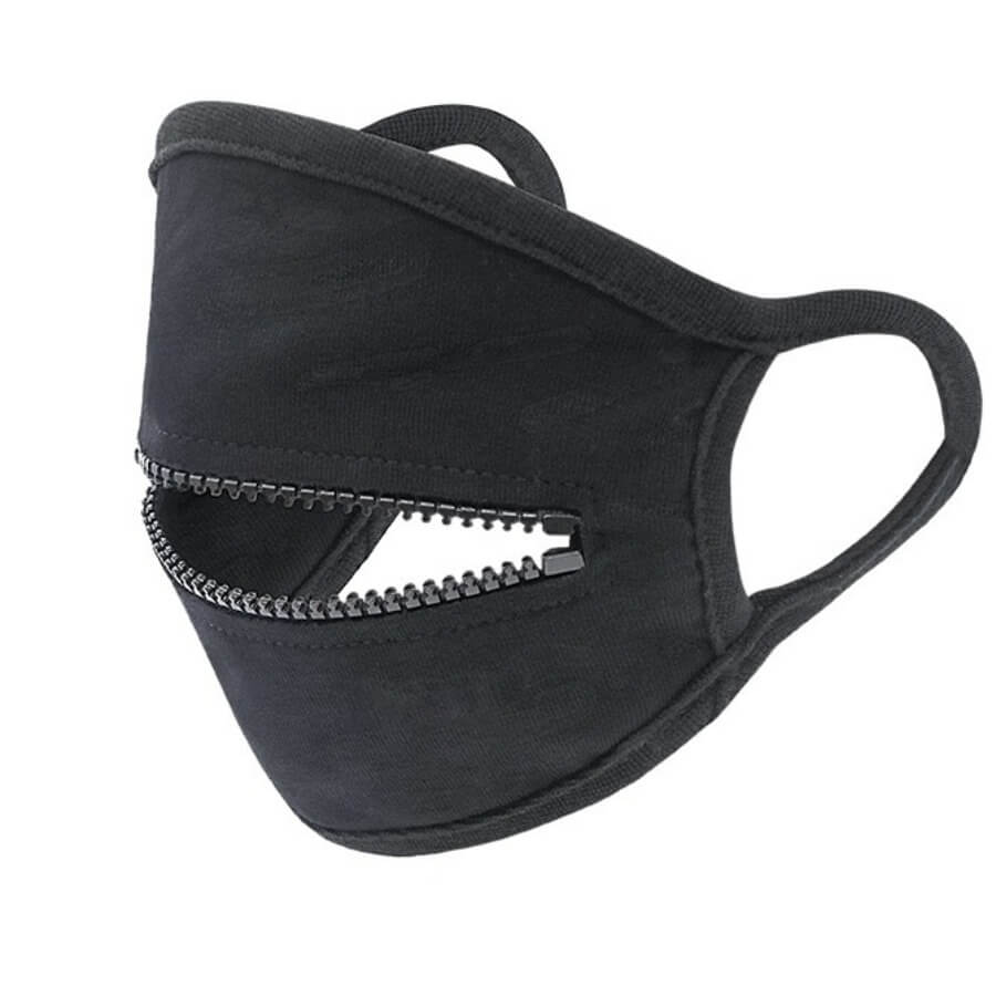 Lovely Zipper Design Black Face Mask