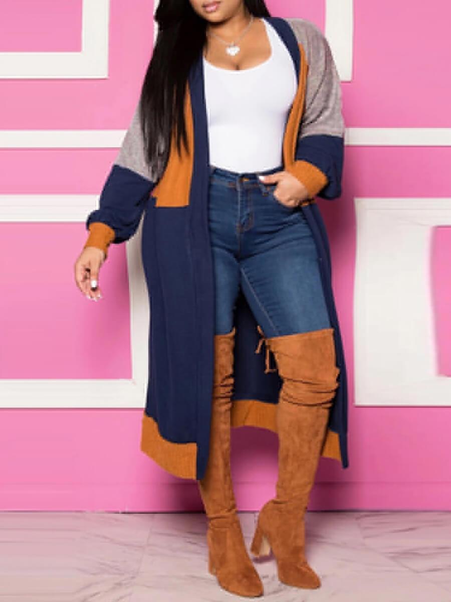 Plus Size Coat&Jacket Lovely Leisure Color-lump Patchwork Blue Plus Size Coat фото