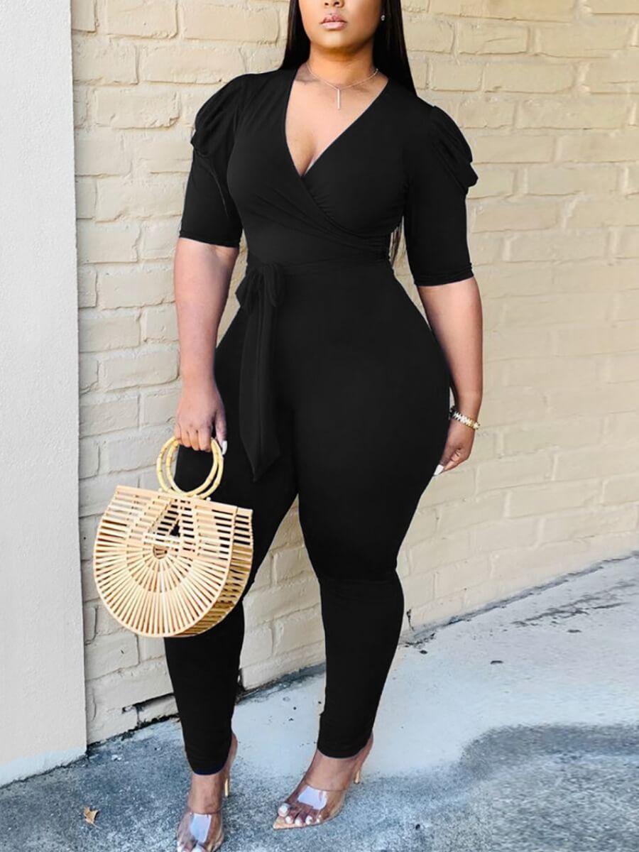 LW Trendy V Neck Fold Design Black One-piece Jumpsuit
