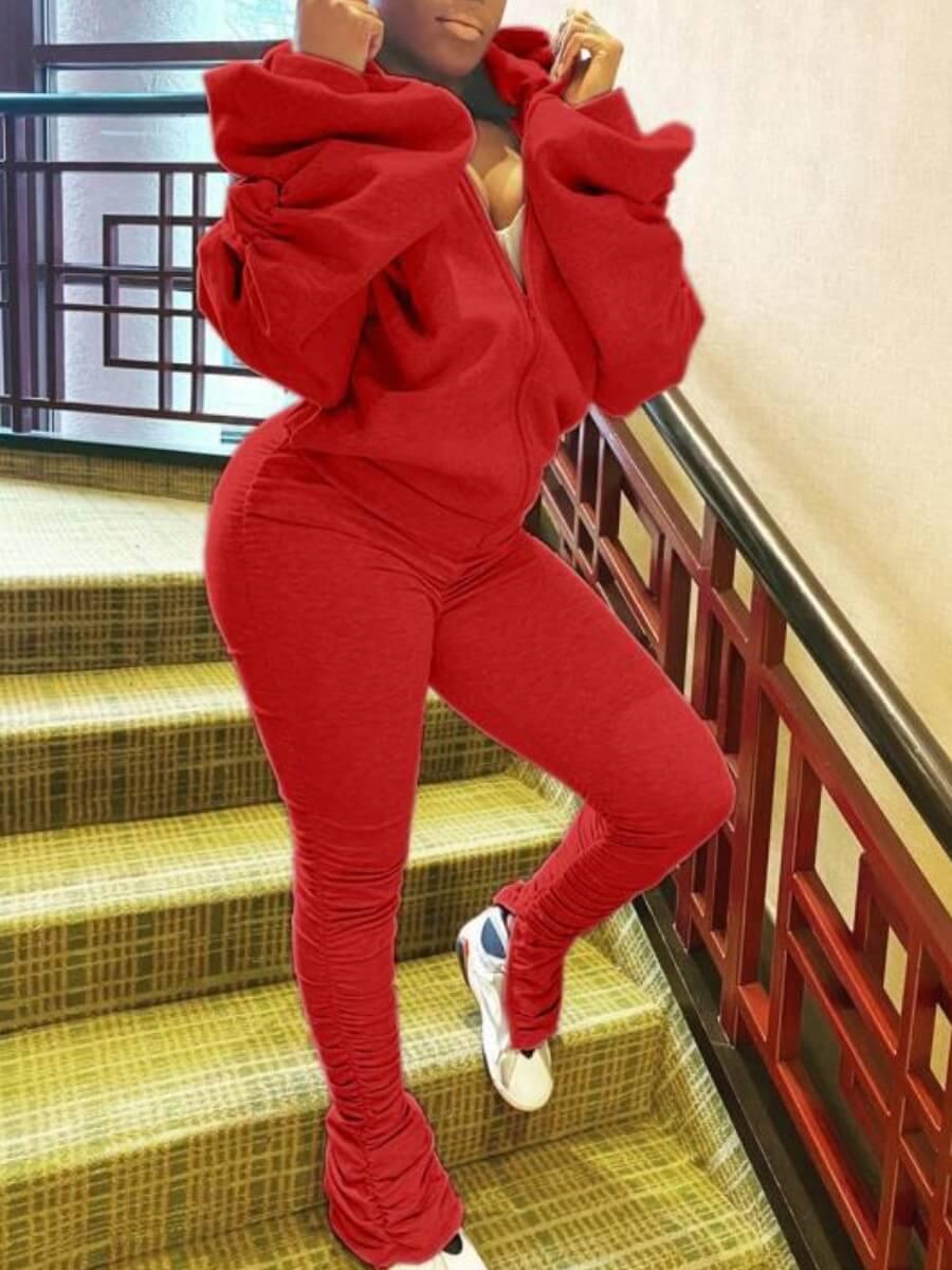 LW Sportswear Hooded Collar Fold Design Red Two Piece Pants Set