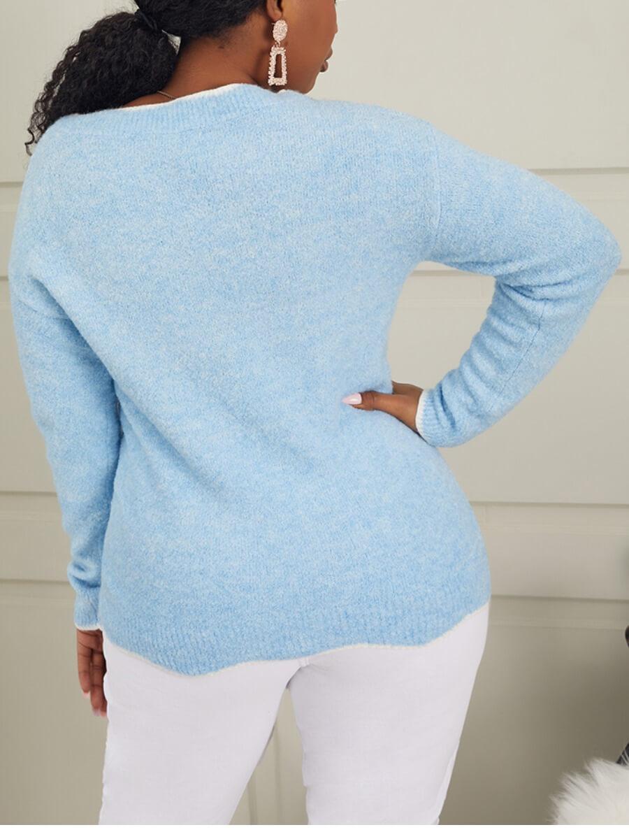 Lovely Trendy V Neck Basic Blue Sweater