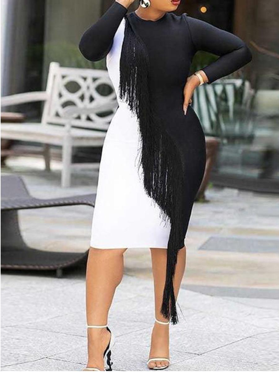 LW SXY Round Neck Tassel Design Bodycon Dress