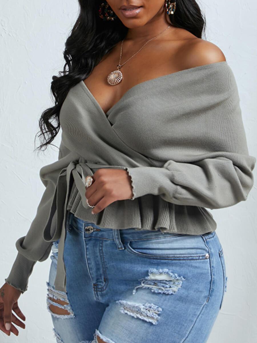 Lovely Plus Size Casual V Neck Fold Design Grey Sweater