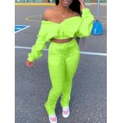 lovely Trendy Dew Shoulder Fold Design Green Two P