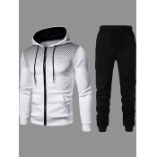 Lovely Street Hooded Collar Zipper Design White Two-piece Pants Set
