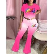 lovely Trendy O Neck Gradient Letter Print Pink Tw